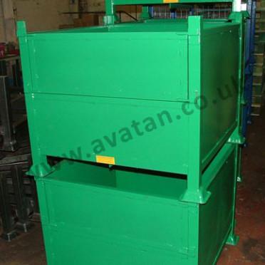 Box Pallet Steel Stillage With Half Drop Gate Stackable