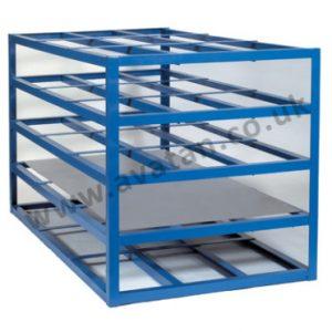Horizontal sheet steel storage rack