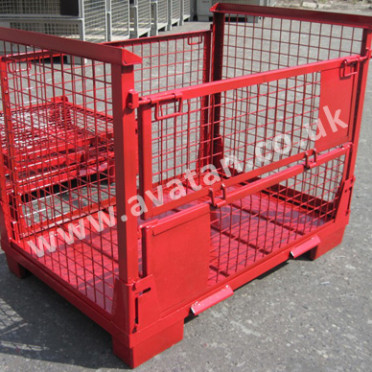 Euro 91 Collapsible Cage Pallet Steel stillage mesh sided Gitterbox