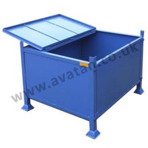 Steel box pallet secure hinged lid stillage