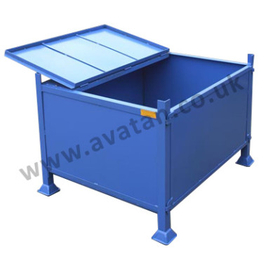 Steel box pallet secure hinged lid stillage