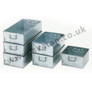 Galvanised Steel Tote Pans Range of Metal Work Containers Stackable