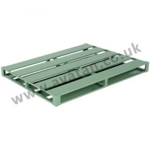 Flat steel pallet reversible four way entry metal slatted top