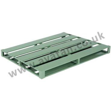 Flat steel pallet reversible four way entry metal slatted top
