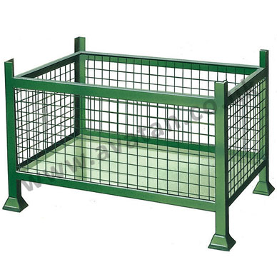 Steel stillage rigid stackable mesh cage pallet