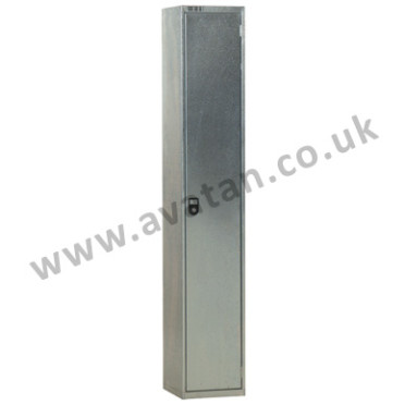 Steel compartment locker economy galvanised single door with coat hook and shelf