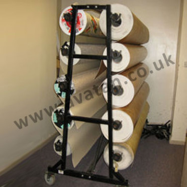 Vinyl Stand Double Sided Mobile 10 Roll Rack