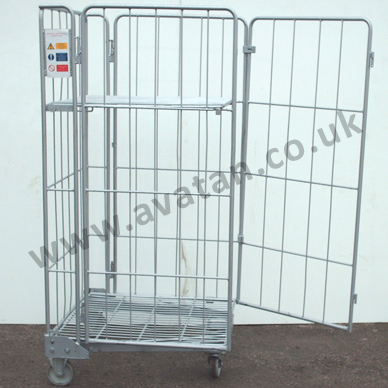 Nestable roll pallet four sides hinged gate used
