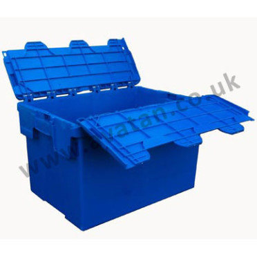 Plastic container stackable nestable attached lid