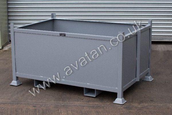 Steel Box Pallet Stillage With Fork Guides Reinforced Sides