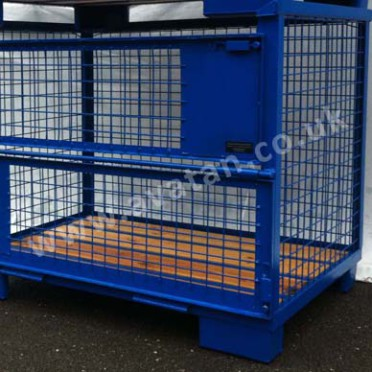 Euro 90 Cage Pallet Gitterbox timber deck