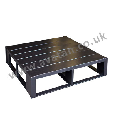 Flat steel close boarded four way entry metal pallet