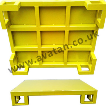 Flat steel pallet four way entry heavy duty