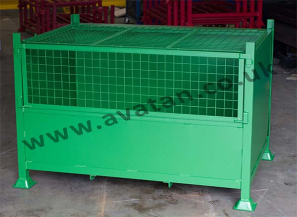 Secure Mesh Front Stackable Box Pallet Mesh Lid