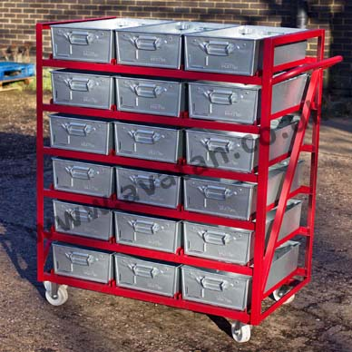 Mobile Tote & Work Pan Multi Shelf Rack on Castors