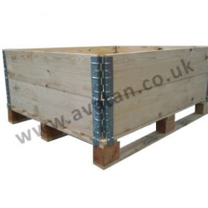 Timber pallet collar stacked wood hinged corners