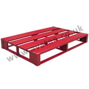 Flat steel pallet four way entry skid base