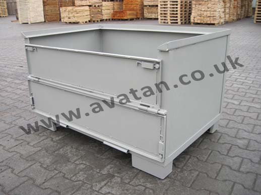 Euro 75 Steel Box Pallet Stillage Half Gate