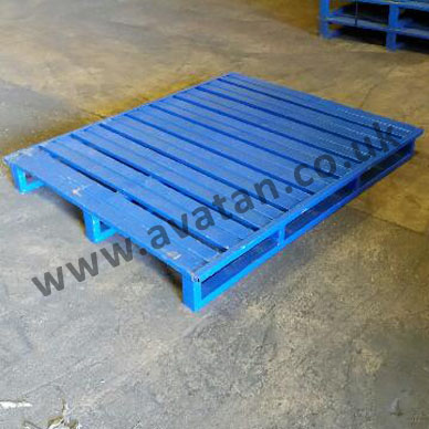 Used Flat Steel Pallet Slatted Top