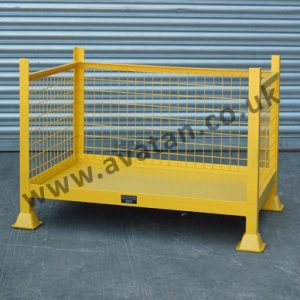 Open front three sided mesh stackable cage pallet stillage