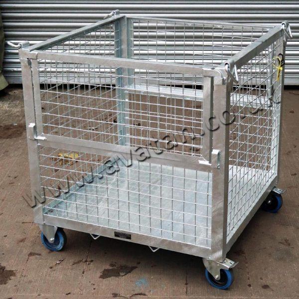 Mobile Crane Lift Cage Pallet Half Gate Galvanised Castors